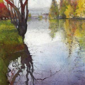 Mirror de Ornans watercolour painting